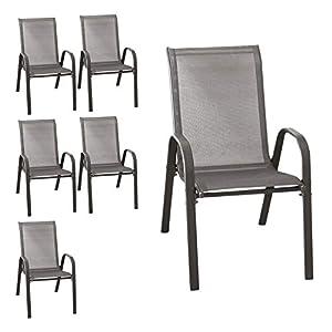 Wohaga® 6er Set Stapelstuhl 'New York', Textilenbespannung Anthrazit, Stahlgestell pulverbeschichtet, stapelbar, Gartenstuhl