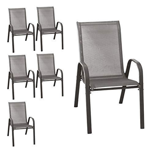 Wohaga® 6er Set Stapelstuhl \'New York\', Textilenbespannung Anthrazit, Stahlgestell pulverbeschichtet, stapelbar, Gartenstuhl