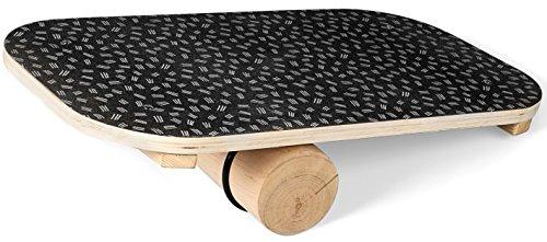 SportPlus Balance Board aus Holz mit Rolle, rutschfestes Griptape, ideal für Gleichgewichtstraining, Wackelbrett, Balancierbrett, Gleichgewichtstrainer, Nutzergewicht bis 100kg