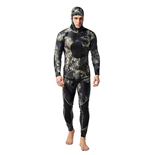 Laurelmartina 2 UNIDS Hombres Traje de Buceo Neopreno 3mm Traje de Pesca Submarina Surf Snorkel Traje de Baño Split Trajes de Surf Ropa de Camuflaje