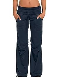 Damen Sporthose Jogginghose ideale Fitnesshose und Freizeithose lang mit breitem elastischem Gummibund, zwei Hosentaschen in schwarz von Gwinner, Modell Miranda