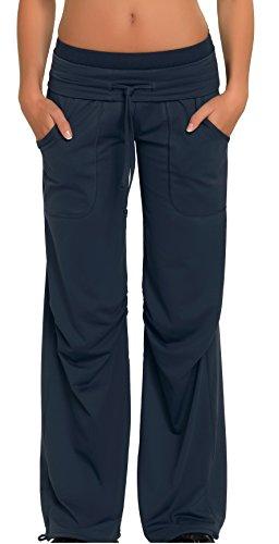 Damen Sporthose Jogginghose ideale Fitnesshose und Freizeithose mit breitem elastischem Gummibund, zwei Hosentaschen von Gwinner, Modell Miranda, lang, grau, L