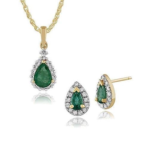 Gemondo 9ct Yellow Gold Emerald & Diamond Pear Cluster Stud Earring & 45cm Necklace Set