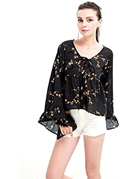 Con estilo y elegante camisa de flores de gasa manga de la trompeta de encaje camiseta