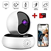 WiFi 1080P Camera IP Wireless Camera Security System Pan Tilt Cam with 32GB SD Card, Night Vision, Two-way Audio, Motion Detection for Home, Baby, Pet, Indoor
