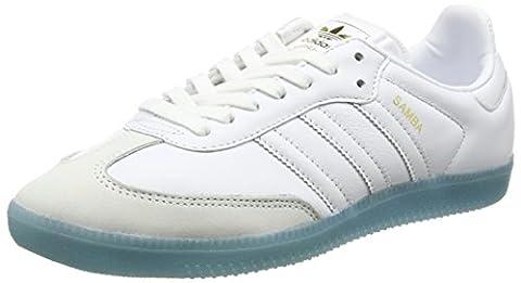 adidas Damen Samba Sneaker, Weiß (Footwear White/Footwear White/Bright Cyan), 38 2/3 EU