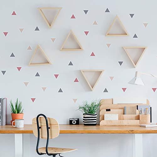 Pegatinas y Vinilos para Decoración de Pared | Triángulos | Adhesivos Decorativos Infantil | Formas Geométricas | 56uds | Rosa, Azul, Mostaza (Almendro)