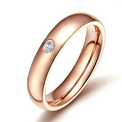 AmDxD Schmuck Damen Ringe 5MM Edelstahl (mit Gratis Gravur) Einzeln Weiß Zirkonia Ehering Rose Gold Größe 57 (18.1) Rubin-ring Mit Rose Gold