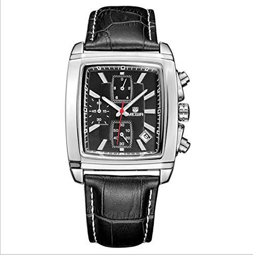 Megir Top Band Quartz Hommes Montre en Cuir Véritable Montres Hommes Chronographe Montre Homme Lumineux Horloge,Black