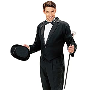 WIDMANN S.R.L. Mens Negro Forrado FRAC Disfraz Pequeño de Hardy Hollywood Film Vestido
