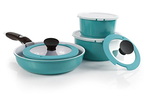 Neoflam 52102 9 Piece Midas Plus Emerald Green Cast Aluminum Cookware Set