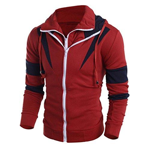 Amlaiworld Herren Jacke Kapuze Hoodie Sweatshirt Kapuzenpullover Hooded Sweatshirt Tops Jacke Mantel Outwear (M, Rot)