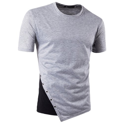 ZhiYuanAN Uomo Magliette A Maniche Corte Irregolare Orlo Cuciture A Colori Design Casual Girocollo T-Shirt Tops Con Decorazione A Bottone Slim Fit Tee Tops Grigio chiaro