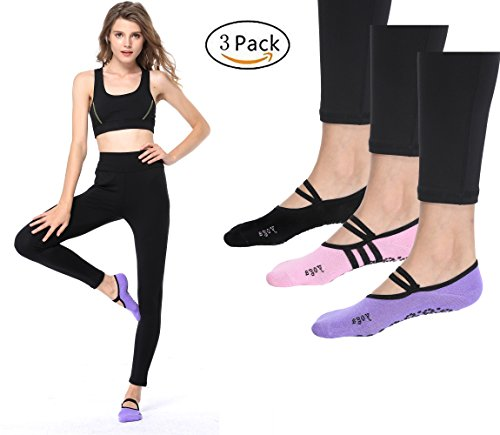 RIBIKA Non Slip Skid Yoga Barre Socks Pilates Ballet Barre Socks Woman Pack Of 3