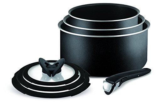 Tefal Ingenio Essential Non-stick Saucepan Set, 7 Pieces - Black