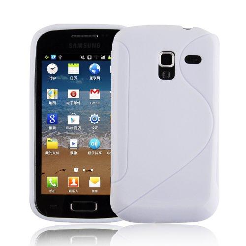 Cadorabo Samsung Galaxy ACE 2 Custodia Silicone TPU DISEGNO S in BIANCO FLOREALE Morbida Cover Protettiva Super Sottile con Bordo Protezione Back Case Ultra Slim Gel Bumper Fina Antiurto Guscio