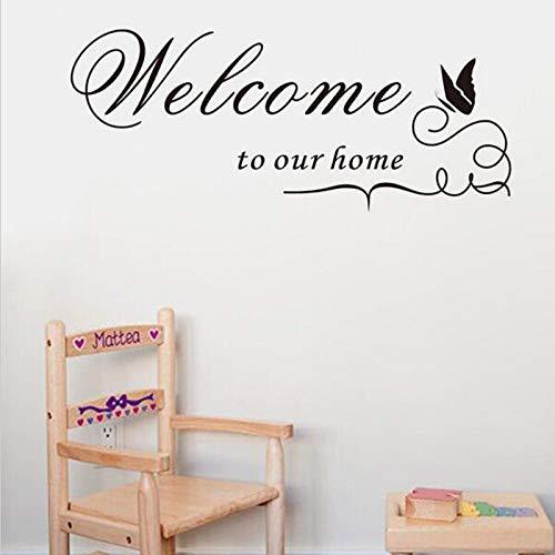 Nuova citazione Adesivo da parete smontabile del vinile della decalcomania Benvenuto alla nostra casa Home Decor arte di DIY Murale farfalla Decorazione domestica 60x25cm