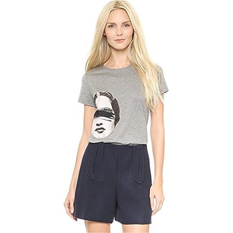 Stile Mode Street Funny Women T-shirt Tee Maglietta Top Cima Con Graphic Grafica Scritta Motivo Logo Slogan Stampa Grigio