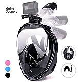 Leader Accessories Máscara de Buceo Snorkel con 180°Vista Anti-Vaho Anti-Fugas Soporte de Gopro Cara Completa Tubo Respirador Plegable Fácil Respiración para Adultos y Niños (Negro, L/XL)