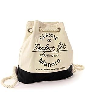 Rucksack Handtasche Canvas weiß, schwarz Rucksackhandtasche City-Rucksack Strandtasche Schultertasche Manoro®...