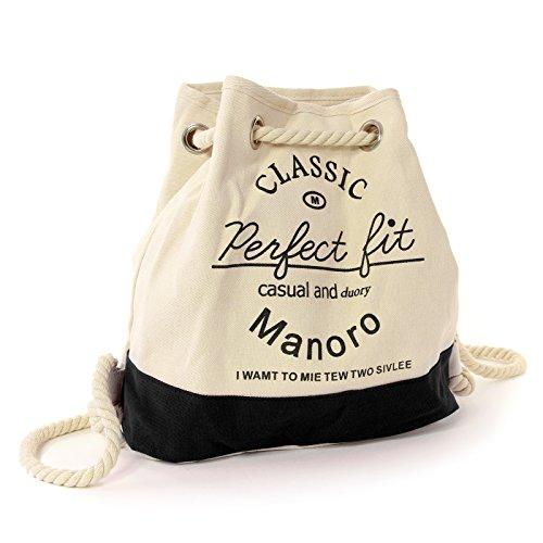 Manoro Rucksack Handtasche Canvas weiß, schwarz Rucksackhandtasche City-Rucksack Strandtasche Schultertasche Vintage and Vogue OTK216S Vintage Vogue