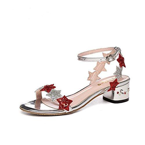 BaiLing Damen Sommer Sandalen / Chunky Ferse Gürtelschnalle / kleine Größe weibliche Schuhe Silver