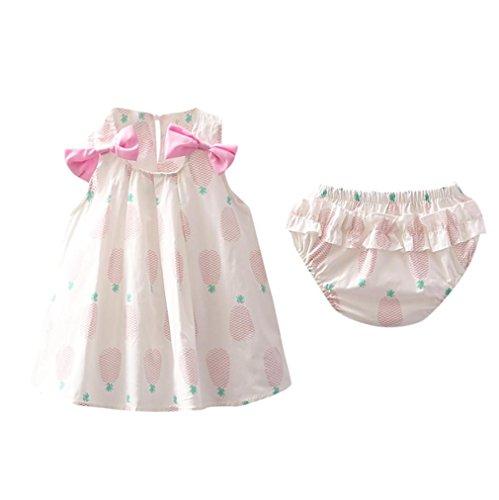 Mounter Robe D'été de Fille, Deux Morceaux Bébé Carotte Imprimer de Princesse Robe Sac Pet Pantalon Costume 6-24Mois (Rose, 12 Mois)