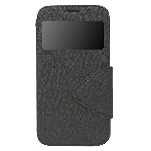 iPhone 6 6s Plus Hülle Flip Case Tasche inkl. Silikon innen View Fenster Magnetverschluß Easy Touch Kartenfach Farbauswahl Orange Schwarz
