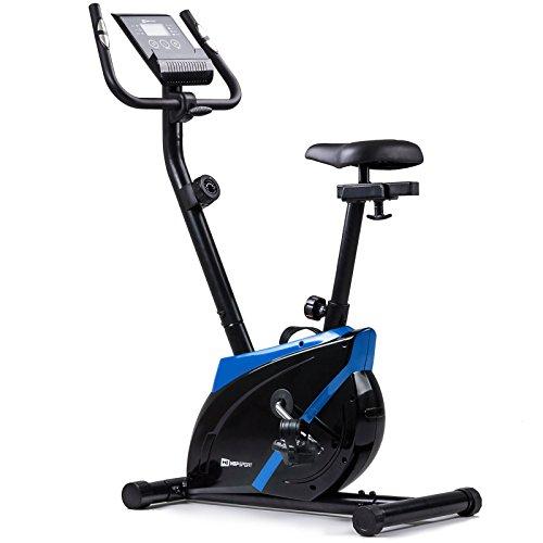 Hop-Sport Heimtrainer Onyx Fitnessgerät mit Pulssensoren und Computer Blau (Training Fahrrad)