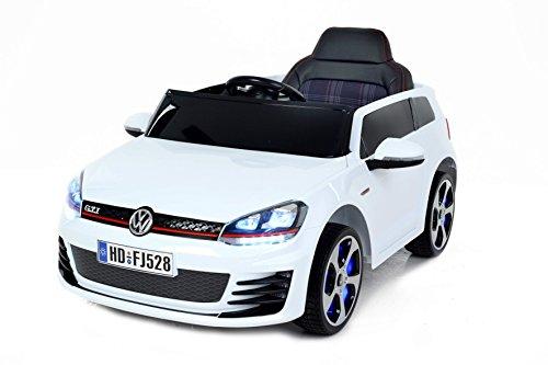 Preisvergleich Produktbild Volkswagen Golf GTI Weiß Lackiert, Original Linzensiert Kinderfahrzeug, Kinder Elektroauto, Kinderauto mit genähte Ledersitz, 2x Motor, 12-V-Batterie, mit 2,4 GHz Bluetooth Fernbedienung, Sanftanlauf