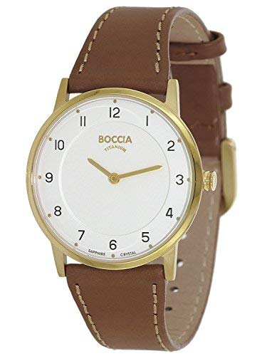 Boccia Damen Analog Quarz Uhr mit Leder Armband 3254-02