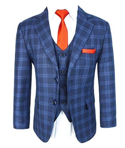 go Boys Italienisches Design Slim Fit Karo Anzüge Hochzeit Formelles Marineblau Outfit 16 Jahr ()