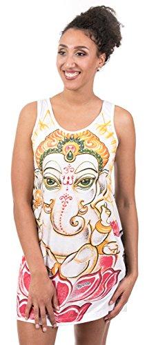 Mirror Damen Trägerkleid - Get Spiritual Buddhismus Hinduismus Yoga Aura Aom (Weiß S)