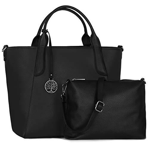 84a8dbb7a CRAZYCHIC - Bolso de Mano Grande Mujer - Shopper Tote Set 2 Piezas - Bolso  de Hombro Bandolera Gran Capacidad A4 Cuero PU - Shopping Bag Compra  Trabajo ...