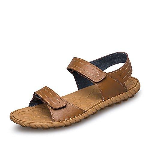 Men's Stitching Schoenen Genuine Leather Casual Sandals Kaki