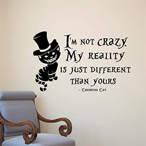 Alice im Wunderland Wandaufkleber Cheshire Cat Vinyl Zimmer Aufkleber Zitat Wall Art Deco Home Decor Kinderzimmer Wandaufkleber 58 X 90 CM