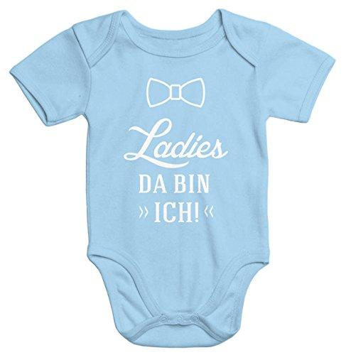 lustiger Baby-Body mit Aufdruck Ladies da bin ich Bio-Baumwolle kurzarm Moonworks® hellblau 3-6 Monate