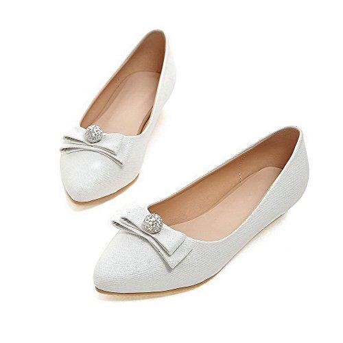 AgooLar Femme Pointu à Talon Bas Matière Souple Mosaïque Tire Chaussures Légeres Blanc