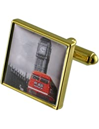 Autobús rojo de Londres Big Ben Gemelos de oro con grabados caso personalizado