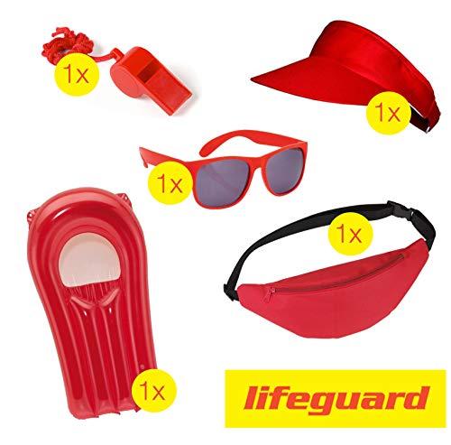 TK Gruppe Timo Klingler Lifeguard Set Fasching Kostüm Karneval Verkleidung Rettungschwimmer Bademeister Boje Rettungsring Rettungsbrett Schwimmboje wie Baywatch Herren & ()
