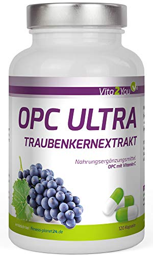 OPC Ultra Traubenkernextrakt 600mg pro Kapsel - mit Vitamin C aus Acerola - OPC mit Analysezertifikat - 120 Kapseln - Hochdosiert - 4 Monatspackung - Premium Qualität - Made in Germany
