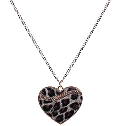 Yazilind Retro Gold Plated Crystal Emboss Leopard Print Enamel Heart Chain Pendant Necklace