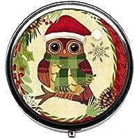 LinJxLee Christmas owl Round Pill Case Pill Box Tablet Vitamin Organizer Easy to Carry preisvergleich bei billige-tabletten.eu