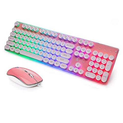 Tastatur, Gaming mit Kabel und Maus Set, Regenbogen-Hintergrundbeleuchtung, Punk, runde Tasten, ergonomisches USB-Spiel, 4 Tasten, 1600 DPI Maus Rose - Treiber-fenster Motor