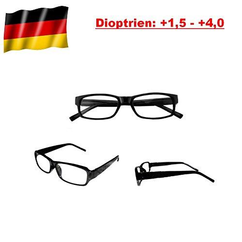 GiXa Mann und Frau Lesebrille mit Stärke +1,5 +2 +2,5 +3 +3,5 +4 Dioptrien / dpt Lese Brille Sehhilfe Lesehilfe Sehstärke Glas Stärke Schwarz (Stärke +3)