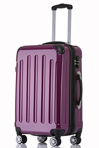 BEIBYE Zwillingsrollen 2048 Hartschale Trolley Koffer Reisekoffer in M-L-XL-Set in 17 Farben (Lila, L)
