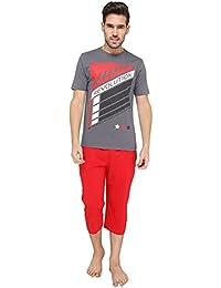 Nightwear For Men - Night Suit - Tshirt & Capri Combo Set - Sinker Material - Red Color - Half Sleeves - Branded... - B078Y6465F