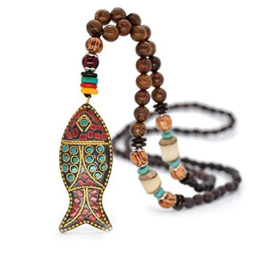 Yumfeel - Collar con símbolo Budista Tibetano de Madera Natural