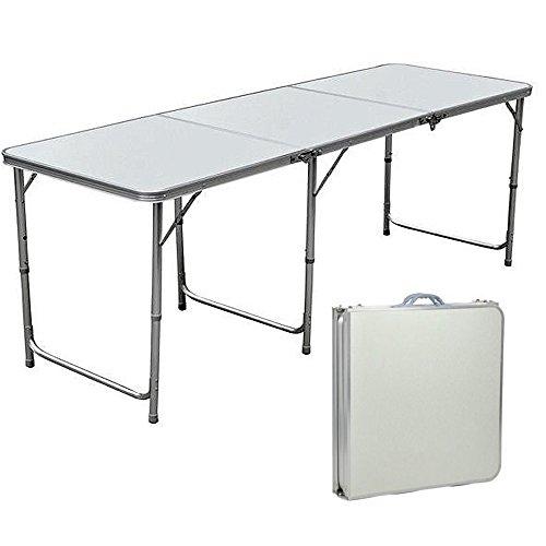Lennov 1,8m 1.8m–Tavolo da Campeggio Pieghevole Rettangolare–Super Resistente, con Maniglia per Il Trasporto, 180cm x 60cm x 70cm