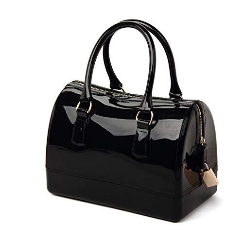 WEII Gelee-Beutel-Modische Art- und Weiseeinfarbige Handtasche-Quadrat-Süßigkeits-Farbe Boston-Handtasche,Schwarz,Einheitsgröße -